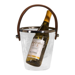 Zodax - Leaf Design Decaled Ice Bucket with Leather Handle by Zodax - Leaf Design Decaled Ice Bucket with Leather Handle by Zodax