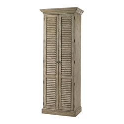 Lexington - Lexington Twilight Bay Hartley Cabinet in Driftwood - Lexington - Pantry - 010352691 - The Hartley Cabinet takes storage to a higher level at 87 inches tall the two doors open to a total of 10 shelves and 2 drawers making this a highly functional piece in the kitchen as a pantry in the bedroom as a shoe cabinet in the mudroom or for scrapbooking the 8 adjustable shelves mean your vertical storage is designed to suit in three finishes.