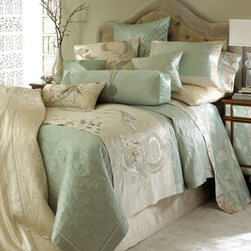"Natori - Natori Two Standard Pillowcases - Showcasing exquisite embroidery and decorative ""cloud"" quilting in elegant shades of pearl and green lily, scenic bed linens with exotic flora and fauna detail are made of cotton/silk satin; dry clean. Butterfly-print sheets are 400-thread-count cotton...."
