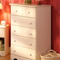 South Shore - Kids Vanilla Chest w 6 Drawers - Fine scalloping at the base is a focal point on the Andover chest. Rich and creamy vanilla finish along with five-drawer upright styling complete this delightfully dreamy look. Coordinate with a range of colors or patterns for the ultimate in appeal. Constructed of particleboard with a Vanilla Cream finish this 6 Drawer Vanilla Children's Chest has a doll house feel with the focal point being the accented scalloping along the bottom. Andover five drawer chest is finished in neutral vanilla cream to suit any bedroom color palette. * Manufactured from eco-friendly, EPP-compliant laminated particle boardcarrying the Forest Stewardship Council (FSC) certification. Constructed of particleboard with a Vanilla Cream finish. Five pull out drawers. Assembly required. 5-year manufacturer's limited warranty. 31 W x 16 D x 45 H in.Fine scalloping at the base is a focal point on the Andover chest. Rich and creamy vanilla finish along with five-drawer upright styling complete this delightfully dreamy look. Coordinate with a range of colors or patterns for the ultimate in appeal.