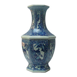 Golden Lotus - Chinese Blue & White Porcelain Hexagon Scenery Vase - Chinese Blue & White Porcelain Hexagon Scenery Vase