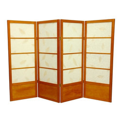 Oriental Unlimted - 4 ft. Low Botanic Shoji Screen w Kick Plate (4 Panels / Honey) - Finish: 4 Panels / HoneyScreens may vary slightly in color. Includes kick plate that provides extra protection from scuffs plus added stability. A miniature counterpart to our popular full size Botanic Shoji Screen with solid bottom. The low height is perfect for hiding unsightly areas, fireplaces and kids' play areas. The embedded leaves add an earthy feel to this decorative room divider. Rice paper features tea stained tree leaves embedded in the textured surface. Ideal for adding a new design element to your space. Shade is strong. Fiber reinforced pressed pulp rice paper allows diffused light. Provides complete privacy. Crafted from durable and lightweight Scandinavian Spruce. Panels are constructed using Asian style mortise and tenon joinery. Lacquered brass. 2-way hinges mean you can bend the panels in either direction. Honey finish. Assembly required. Each panel: 17.5 in. W x .75 in. D x 48 in. H. 4 Panels: 72 in. wide (flat). Approximately 60 in. wide (folded to stand upright)