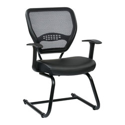 Office Star - Office Star 57 Series Air Grid Back Guest Chair in Black - Office Star - Guest chairs - 5705E - Space seating Professional air grid back visitors chair with Eco leather seat. design to fit to almost any office setting the office star guest chair can be suitable for reception areas or waiting rooms.