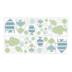 Sweet Jojo Designs - Go Fish Wall Decal Set of 4 Sheets by Sweet Jojo Designs - The Go Fish Wall Decal Set of 4 Sheets by Sweet Jojo Designs, along with the bedding accessories.