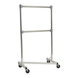 Z Racks - Heavy Duty Z-Rack Double Rail Garment Rack in - Base Color: White/Off-White. 500lb capacity. 14 gauge stee, 36 in. long base (Environmentally safe powder coated finish). 16 gauge, 60 in. upright bars and double hang rails. 1 5/16 outside diameter upright bars and hang rail. Grey non-marking soft rubber with TP center 4 in. casters. Made in the USA. Assembly Required. 36 in. L x 23 in. W x 67 in. HThis two-rail Z-Rack has the load-bearing capacity and physical hang space to actually hold two full rows of clothing. You may have seen other double rail racks sold in consumer stores, but often the parallel bars are not wide enough to hold items. Their racks maintain the same dimensions as single rail racks but force more apparel in the same space. That�۪s not dependability���it�۪s an accident waiting to happen. This rack combats all these problems by placing the hang rails on top of one another so the full weight of the clothing is supported inside the wheel base. Up to 500 lbs can be loaded on the race without any sagging or bending���guaranteeing that this rack will outlast all the others.