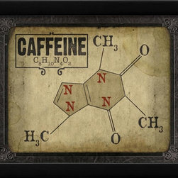 The Artwork Factory - Caffeine Molecule Framed Artwork - Ready-to-Hang, 100% Made in the USA, museum quality framed artwork