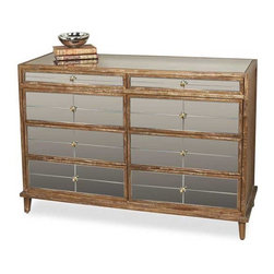Interlude Home - Interlude Home Violetta Mirrored Dresser - This Interlude Home Mirrored Dresser is crafted from Wood and Mirror and Metal and finished in Chestnut Ceruse and Antique Mirror and Antique Brass.  Overall size is:  51 in. W  x  19 in. D x 35 in. H.