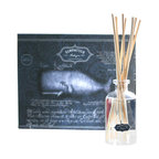 Ambergris Boxed Scent Diffuser - Musky and sweet, the scent of ambergris fills your home with a sensuality that is distinctly cultured.  This costly ocean-derived favorite of the Elizabethan court is beautifully captured in the clear oil that fills the Ambergris Boxed Scent Diffuser, which includes a classic narrow-necked jar in an apothecary style to hold the oil and reeds; all is packaged for elegant gifting.