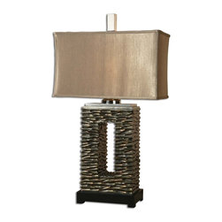 Uttermost - Tarin Aged Bronze Table Lamp - This Lamp Has An Aged Bronze Finish And Black Foot, And Is Topped With A Rectangular, Coffee Brown Textile Shade. Number Of Lights: 1, Shade: Rectangle Drum Shade, Shade Size: Height: 12, Top: 20w X 9d, Bottom: 20w X 9d, Voltage: 110, Wattage: 100w, Bulbs Included: No