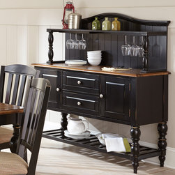 Steve Silver Furniture - Steve Silver Carrolton Buffet w/ Hutch in Medium Oak & Black - The antique look of the Carrolton buffet and hutch transports you to a simpler time, creating a dining room getaway. Made of hardwood solids and antique-planked acacia veneers with a multi-step two-tone finish in oak and black, the spacious Carrolton buffet pairs with the arch-top open hutch with stemware rack. - CR500B-H.  Product features: Multi-step two-tone finish in medium oak and black rub through; Hardwood solids and acacia veneers; Felt lined top drawer; Turned legs and bottom shelf; Arched hutch top with a planked back; Top shelf and stemware rack. Product includes: Buffet (1); Hutch (1). Buffet w/ Hutch in Medium Oak & Black belongs to Carrolton Collection by Steve Silver.