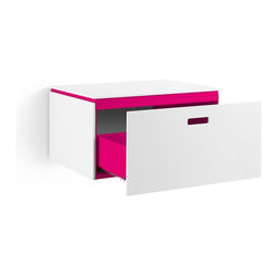 WS Bath Collections - Ciacole Pink Cabinet With Drawer - Ciacole 8061 Base Cabinet with One Drawer in Pink Painted Aluminum and White Mattstone, Base Cabinet with One Drawer Designed for Use With a Vessel (Countertop) Bathroom Sink In Pink Painted Aluminum and White Mattstone, Wall-Mounted Installation, Made in Italy