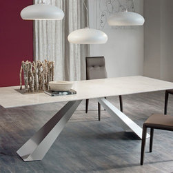 Cattelan Italia - Cattelan Italia | Eliot Marble Dining Table, 95-Inch - Made in Italy by Cattelan Italia.A striking blend of angles and durable materials, the 95-Inch Eliot Marble Dining Table features a sleek composition in lux range of materials. An eye-catching steel base, available in embossed lacquer or satin stainless finish, draws the eyes upward to its apex: a marble slab top luxurious enough for even the most glamorous dining rooms. The table can comfortably seat 10 to 12 people. Also available in a smaller, 80-inch size. Product Features: Sturdy steel base with embossed lacquered or satin stainless finish Slab top in Carrara or Emperador marble