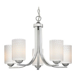 Design Classics Lighting - Contemporary Chandelier with White Art Glass Bell Shades - 584-26 GL1020C - Polished chrome chandelier with white scalloped art glass bell shades and five lights. Takes (5) 100-watt incandescent A19 bulb(s). Bulb(s) sold separately. UL listed. Dry location rated.