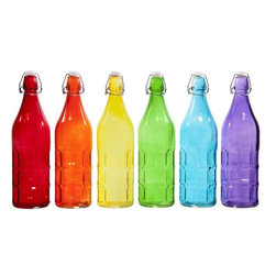 "Home Essentials - Assorted Colors Vintage Glass Dimple Bottles - The fastest and most colorful way to dress up your home and beverages, our assorted colored bottles are both pretty and convenient.  These wonderful bottles can be used as water bottles, pouring your favorite beverages, oil and vinegar and even flowers. So finally throw out those plastic bottles that have been on your kitchen counter or desk for way too long! Replace it with these old fashioned wire and bail bottles; they are both beautiful to look at and will make you feel so chic when pouring your beverages.   * Set of 6  * Capacity: 36 oz  * Height: 12"" W: 3"""