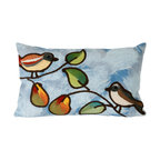 """Trans-Ocean Inc - Song Birds Blue 12"""" x 20"""" Indoor Outdoor Pillow - The highly detailed painterly effect is achieved by Liora Mannes patented Lamontage process which combines hand crafted art with cutting edge technology. These pillows are made with 100% polyester microfiber for an extra soft hand, and a 100% Polyester Insert. Liora Manne's pillows are suitable for Indoors or Outdoors, are antimicrobial, have a removable cover with a zipper closure for easy-care, and are handwashable.; Material: 100% Polyester; Primary Color: Blue;  Secondary Colors: green, orange; Pattern: Song Birds; Dimensions: 20 inches length x 12 inches width; Construction: Hand Made; Care Instructions: Hand wash with mild detergent. Air dry flat. Do not use a hard bristle brush."""
