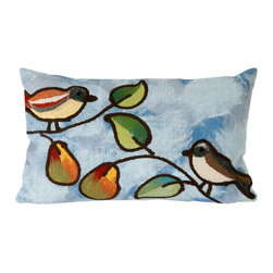 "Trans-Ocean Inc - Song Birds Blue 12"" x 20"" Indoor Outdoor Pillow - The highly detailed painterly effect is achieved by Liora Mannes patented Lamontage process which combines hand crafted art with cutting edge technology. These pillows are made with 100% polyester microfiber for an extra soft hand, and a 100% Polyester Insert. Liora Manne's pillows are suitable for Indoors or Outdoors, are antimicrobial, have a removable cover with a zipper closure for easy-care, and are handwashable.; Material: 100% Polyester; Primary Color: Blue;  Secondary Colors: green, orange; Pattern: Song Birds; Dimensions: 20 inches length x 12 inches width; Construction: Hand Made; Care Instructions: Hand wash with mild detergent. Air dry flat. Do not use a hard bristle brush."