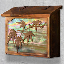 Japanese Maple Large Wall Mounted Mailbox - The Japanese Maple naturally evokes peace and harmony as it graces the garden and is a perfect design for this beautiful mailbox from America's Finest. Select one of our many hand applied patina finishes and complete the design with an iridescent sunset glass behind this beautiful tree. It has a traditional hinge detail on the lid and a rubber bumper on the inside to eliminate any noise when closing. The corner rivets complete the design and give this a rugged handcrafted look. Easy to mount and a wonderful addition to your front entry this Japanese Maple mailbox design will be a delight for years to come. As with all America's Finest products it carries our lifetime warranty.