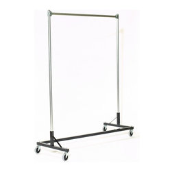 "Quality Fabricators - Z-Rack - Heavy Duty 60"" Long Base Single Rail w/ 72"" Uprights, Black - The apparel industry relies on space-saving clothes racks for many reasons, but mainly because the shape of the  Z  rack folds right into another unit and out of the way. More floor space is a great reason to choose it, but so is this rack's long-lasting durability. Able to hold 500 lbs, with a five foot base and uprights that extend up to six feet, it s a multi-purpose rack that can provide needed storage in a laundry room, church choir room, school band room, garage, or anywhere you need more hanging space."