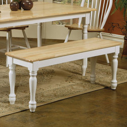 "Coaster - Natural/White Bench in Natural/ White - Add this lovely wooden bench to your dining set for a touch of casual country charm. The smooth generously sized top features a rounded edge, above pretty turned legs. Pull it up to the matching dining table for a complete ensemble that you will love.; Country Style; Finish: Natural/ White; No assembly required.; Dimensions: 48""L x 14""W x 18""H"