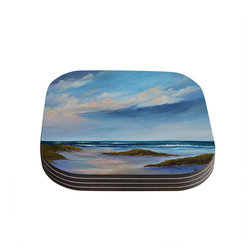 "Kess InHouse - Rosie Brown ""Summer Showers"" Beach Coasters (Set of 4) - Now you can drink in style with this KESS InHouse coaster set. This set of 4 coasters are made from a durable compressed wood material to endure daily use with a printed gloss seal that protects the artwork so you don't have to worry about your drink sweating and ruining the art. Give your guests something to ooo and ahhh over every time they pick up their drink. Perfect for gifts, weddings, showers, birthdays and just around the house, these KESS InHouse coasters will be the talk of any and all cocktail parties you throw."