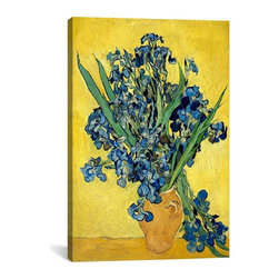 Vincent van Gogh Canvas Print, Vase With Irises Against a Yellow Background - Museum-quality canvas print by Vincent van Gogh gallery wrapped and ready for wall hanging with no additional framing required. The canvas print is remarkably bright in color and unrivaled in detail with quality ink that has been light-tested to last over 100 years!