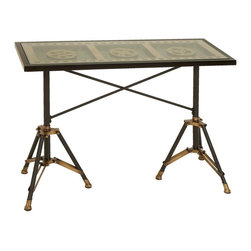 Benzara - Metal Glass Table Fascinating Movie Reel Table - Metal Glass Table is an interior accent product dedicated to movie fans. It features a long rectangular table. This fascinating movie reel table will be the best interior accent product for your studio.