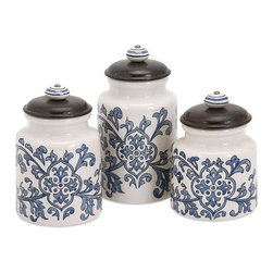 "Imax - Vera Blue White Hand-Painted Canisters - Set of 3 - *Dimensions: 5.75-6.5-7.5""h x 4.25""d"
