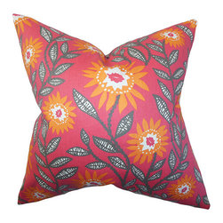 The Pillow Collection - Leena Pink and Orange 18 x 18 Floral Throw Pillow - - Pillows have hidden zippers for easy removal and cleaning  - Reversible pillow with same fabric on both sides  - Comes standard with a 5/95 feather blend pillow insert  - All four sides have a clean knife-edge finish  - Pillow insert is 19 x 19 to ensure a tight and generous fit  - Cover and insert made in the USA  - Spot clean and Dry cleaning recommended  - Fill Material: 5/95 down feather blend The Pillow Collection - P18-PP-FENTON-SHERBET