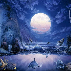 Murals Your Way - Moonlight Splash Wall Art - Creatures large and small populate this wall mural of a tropical cove