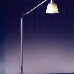 """Artemide - Artemide Tolomeo with shade reading floor lamp - The Tolomeo with shade reading floor lamp from Artemide has been designed by Michele De Lucchi and Giancarlo Fassina in 2007. This floor standing luminaire is great for orientable direct task incandescent lighting. The Tolomeo with shade reading floor lamp is composed of a fully adjustable, articulated arm body structure in extruded aluminum in a natural anodized finish. The joints and tension control knobs are made of polished die-cast aluminum with the support cables in stainless steel The shade of this lamp is in parchment paper or in pale grey satin coloring and  remains vertical regardless of arm angle Incorporated on/off switch on lamp holder. UL listed.  Product Details:   The Tolomeo with shade reading floor lamp from Artemide has been designed by Michele De Lucchi and Giancarlo Fassina in 2007. This floor standing luminaire is great for orientable direct task incandescent lighting. The Tolomeo with shade reading floor lamp is composed of a fully adjustable, articulated arm body structure in extruded aluminum in a natural anodized finish. The joints and tension control knobs are made of polished die-cast aluminum with the support cables in stainless steel The shade of this lamp is in parchment paper or in pale grey satin coloring and  remains vertical regardless of arm angle Incorporated on/off switch on lamp holder. UL listed.  Details:       Manufacturer:     Artemide      Designer:    Michele De Lucchi and Giancarlo Fassina      Made in:    Italy      Dimensions:     Height: max 47.25"""" (120 cm) Width: max 34.25"""" ( 87 cm)      Light bulb:     1 X 75W E26 incandescent      Material:     Aluminum, Stainless steel"""