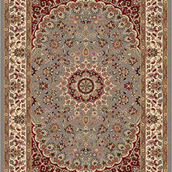 Tayse Rugs - Elegance Blue and Green Rectangular: 5 Ft. x 7 Ft. Rug - - The detailed oriental medallion design of this area rug make a statement of elegance to any room. Soft polypropylene fibers make it soft, warm, and easy to clean. Rich hues of gray-blue, gold, red and ivory. Vacuum and spot clean.  - Square Footage: 35  - Pattern: Oriental  - Pile Height: 0.39-Inch Tayse Rugs - 5396  Blue  5x7