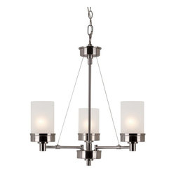 Transglobe - Urban Swag 3-lt Chandelier - Industrial architect lighting decor for urban lifestyles. Edgy lines and crisp white frosted glass. Complete indoor collection. Includes 6' chain.