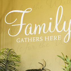 Decals for the Wall - Wall Decal Art Sticker Quote Vinyl Lettering Family Gathers Here Dining Room F51 - This decal says ''Family gathers here''