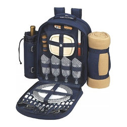 Picnic at Ascot - Bold Backpack W/Blanket for Four - Features: