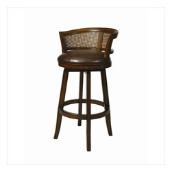 """Pastel - Grand Palace Swivel Barstool GP-225 - Stallion Brown - 26"""" - This handsomely crafted Grand Palace wood barstool features a quality wood finish in Distressed Cherry with sturdy legs and foot rest. An ideal way to add a touch of traditional flair to any dining or entertaining area in your home. The padded seat is upholstered in Stallion Brown offering comfort and style. (Available in 26"""" counter height or 30"""" bar height)."""