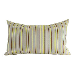 The Pillow Studio - Striped Lumbar Pillow Cover, Contemporary Brown, Ivory and Chartreuse Stripes - Striped Lumbar Pillow Cover, Contemporary Brown, Ivory and Chartreuse Stripes