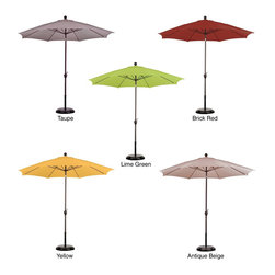 ESCADA - 9-foot Aluminum/ Poly Crank and Tilt Umbrella with Base - Available in five poly fabric shade colors, this bronze aluminum umbrella protects your skin from damaging UV rays. This crank-system umbrella features a convenient push-tilt mechanism and includes a heavy-duty base for support.