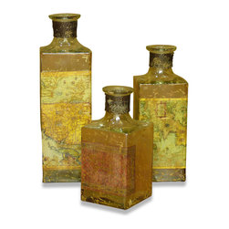 Kathy Kuo Home - Cosina Explorers Antique French Rustic Map Decoupage Bottle Set - Set of three hand crafted antique reproduction decoupage bottles are made with different clippings of maps from all over the world. Antique brass braided metal trims the bottle edge. Set of three sold together. Not food safe