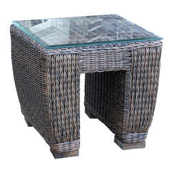WickerParadise - All Weather Wicker End Table Galveston - Made especially to withstand the outdoors, this sturdy and attractive piece is a smart addition to your backyard collection. Place it next to your patio swing or rocker and you've got a sweet landing spot for your iced tea and summer novel.
