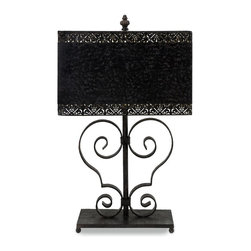 iMax - iMax Arabesque Transitional Table Lamp X-72421 - Sophisticated cast iron arabesque table lamp with scroll design and metal shade
