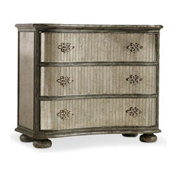 Hooker Furniture - Shaped Mirrored Chest - White glove, in-home delivery included!  Crafted with poplar and hardwood solids with antique mirror, this chest features three drawers.