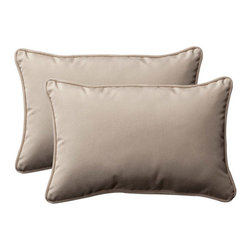 Pillow Perfect - Decorative Beige Solid Toss Pillow Rectangle , Set of Two - - Beige  - 100% Polyester  - 100% Virgin Recycled Polyester Fill  - Self-Cord Edge  - Fade Resistant, Mildew Resistant, UV Protection, Water Resistant, Weather Resistant  - Made in USA Pillow Perfect - 387000