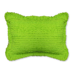 Cottage Home - Pretty Ruffled Green Shams - This beautifully crafted ruffled bright lime sham can be used for any bedroom set or living area for a maximum comfort and a fun style. Each tiny ruffle is hand stitched to the pillow for a unique look.
