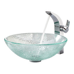 Kraus - Kraus Crackle Glass Vessel Sink and Illusio Faucet - Add a touch of elegance to your bathroom with a glass sink combo from Kraus.