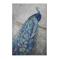 Uttermost - Proud Papa Hand Painted Art - The Proud Peacock Displays Vibrant Shades Of Turquoise Blue Mixed With Greens And Yellows In This Hand Painted Artwork On Burlap Applied To Hardback Board. Due To The Handcrafted Nature Of This Artwork, Each Piece May Have Subtle Differences.