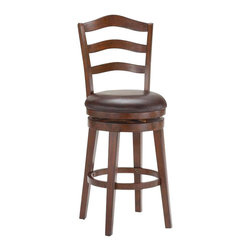 Hillsdale Furniture - Hillsdale Windsor Swivel Counter Stool in Brown Cherry - A charming and traditional stool, Hillsdale's Windsor is a classic. The arched ladder back design is complimented by the rich brown cherry finish. It also boasts an easy to clean brown vinyl seat. Available in either bar or counter height. Both heights feature a 360 degree swivel seat. Assembly required.