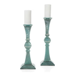 Z Gallerie - Vendome Pillar Holder - A Z Gallerie exclusive, our very own aquamarine Vendome Mercury Glass Pillar Holders create a dramatic effect in the glow of candlelight. Handcrafted and finished in a festive aquamarine color, they each hold a 3 inch diameter pillar candle (not included). Sold separately.