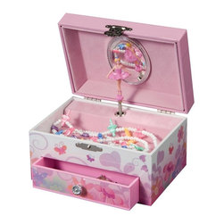 "Mele & Co. - Ashley Girls Musical Jewelry Box - Open storage on top. One open drawer. Twirling ballerina. Plays ""Swan Lake"". Covered with fairy and flowers fashion paper overlay with silver glitter detail. Interior oval mirror. Pink flocked fabric lining. Silver tone latch and hardware. Age group: 8 years and above. 5.88 in. W x 4 in. D x 3.38 in. HFun and fanciful, Ashley girl's musical ballerina jewelry box will enchant and delight young and old alike. With a twirling ballerina and glittery accents, this jewelry case is every little girl's dream."