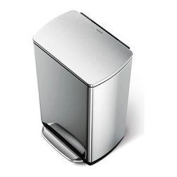 """simplehuman - Rectangular Step Trash Can in Brushed Stainless Steel - The simplehuman rectangular step can has a wider all-steel pedal for easy access and an integrated odorsorb(TM) filter to absorb odors naturally. The slim profile hinge keeps the lid from hitting the wall, while patented lid shox(R) technology controls the motion of the lid for a slow, silent close. Features: -Step trash can. -Brushed Stainless Steel finish. -Strong, all-steel pedal is engineered to last over 150,000 steps that is more than 20 steps a day for 20 years. -Patented lid shox technology controls the motion of the lid for a slow, silent close. -Integrated odorsorb natural charcoal filter is integrated into the lid to absorb odors. -Fingerprint-proof finish resists smudges to keep stainless steel shiny. -Bag tuck opening tucks away excess bag so it stays neatly out of sight. -Internal hinge allows you to place can closer to the wall. -Sturdy non skid base has rubber pads that are gentle on floors and keep the can steady. -Rectangular shape. -Capacity: 50 liters (13 gallon). -ISTA 3A certified. -Manufacturer provides 10 years warranty. Dimensions: -25.6"""" H x 19.8"""" W x 13.7"""" D, 17.4 lbs."""