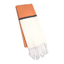 "Abanja - Barek Solid Foutal Orange Towel - The Barek Fouta towel envelops with oversized comfort and classic style. Featuring a bold colorblock motif, the fringed beach accessory's divides orange and beige with a dark gray stripe. 39""W x 73""H; 85% cotton/15% acrylic; Orange, neutral and black"